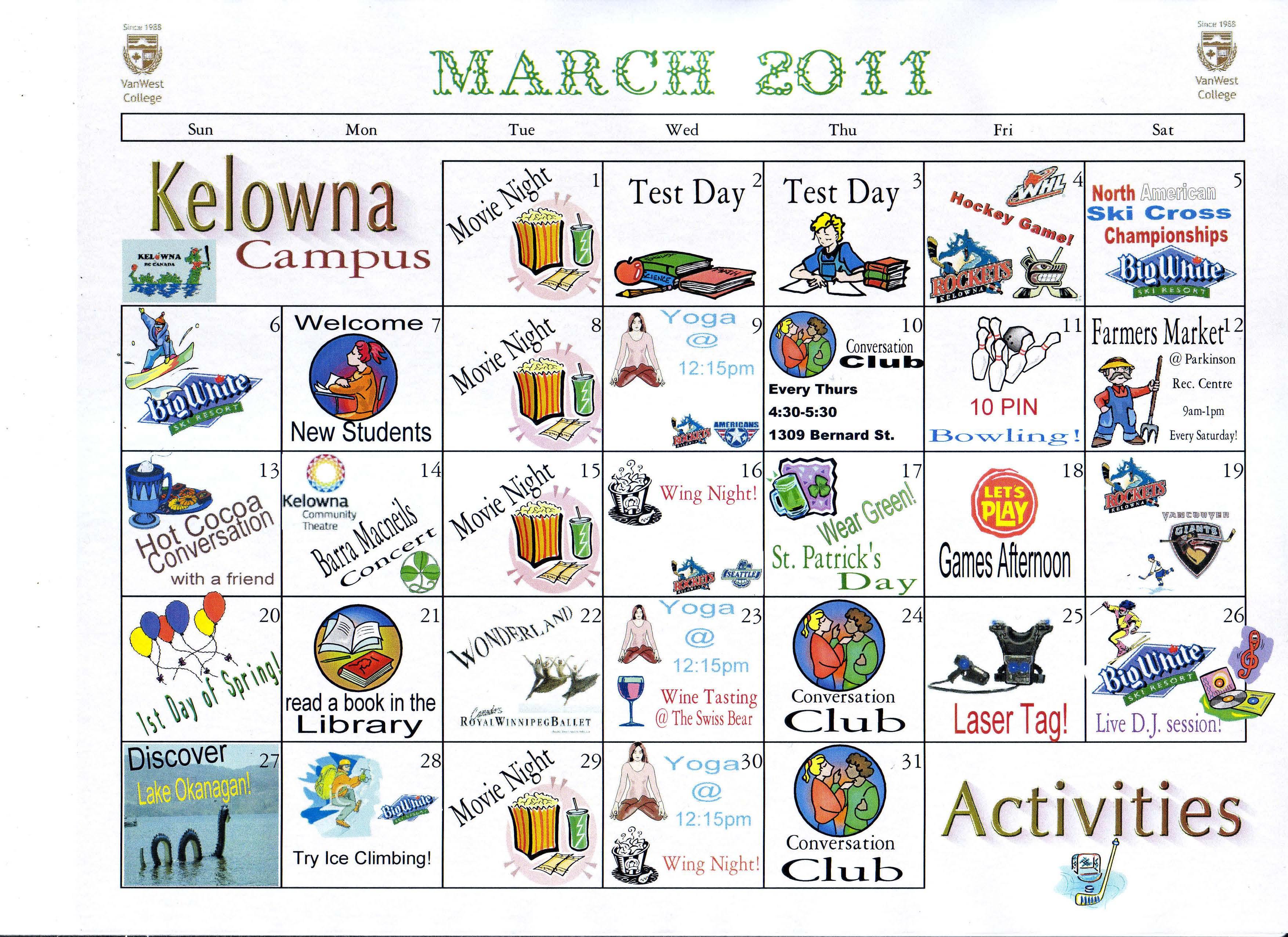 Calendar Activities Esl : Learn english in kelowna vanwest college