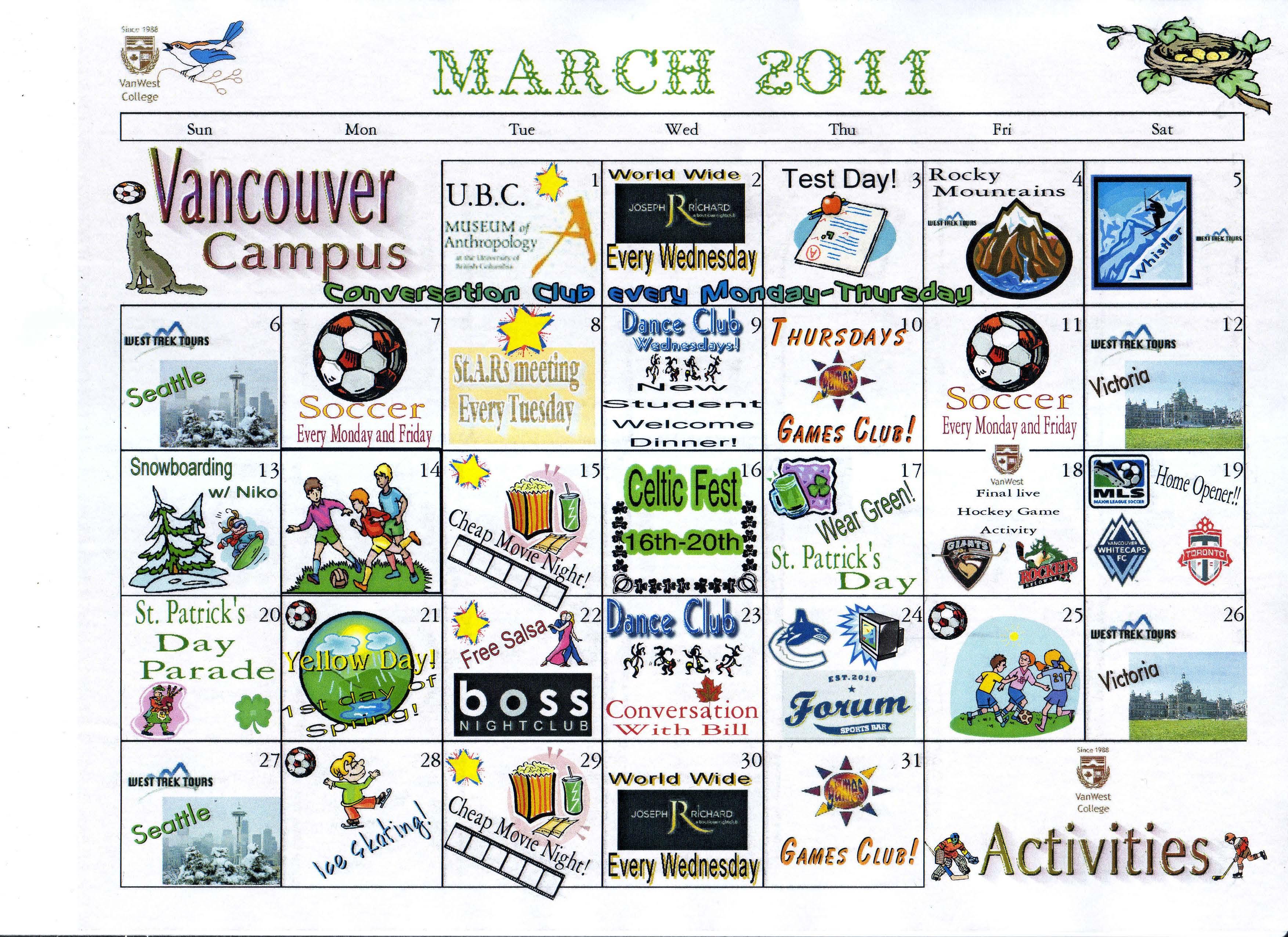 Calendar Activities Esl : Esl vanwest college